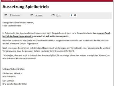 Aussetzung des Spielbetriebes im Burgenland mit 23.10.2020
